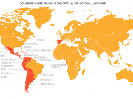 Map of Spanish speaking countries
